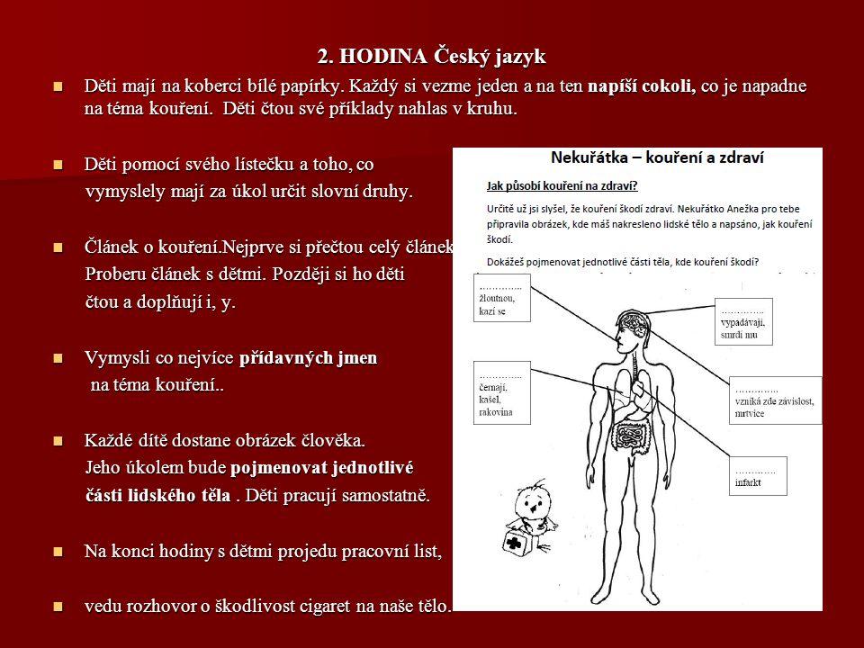 2. HODINA Český jazyk Děti mají na koberci bílé papírky. Každý si vezme jeden a na ten napíší cokoli, co je napadne na téma kouření. Děti čtou své pří