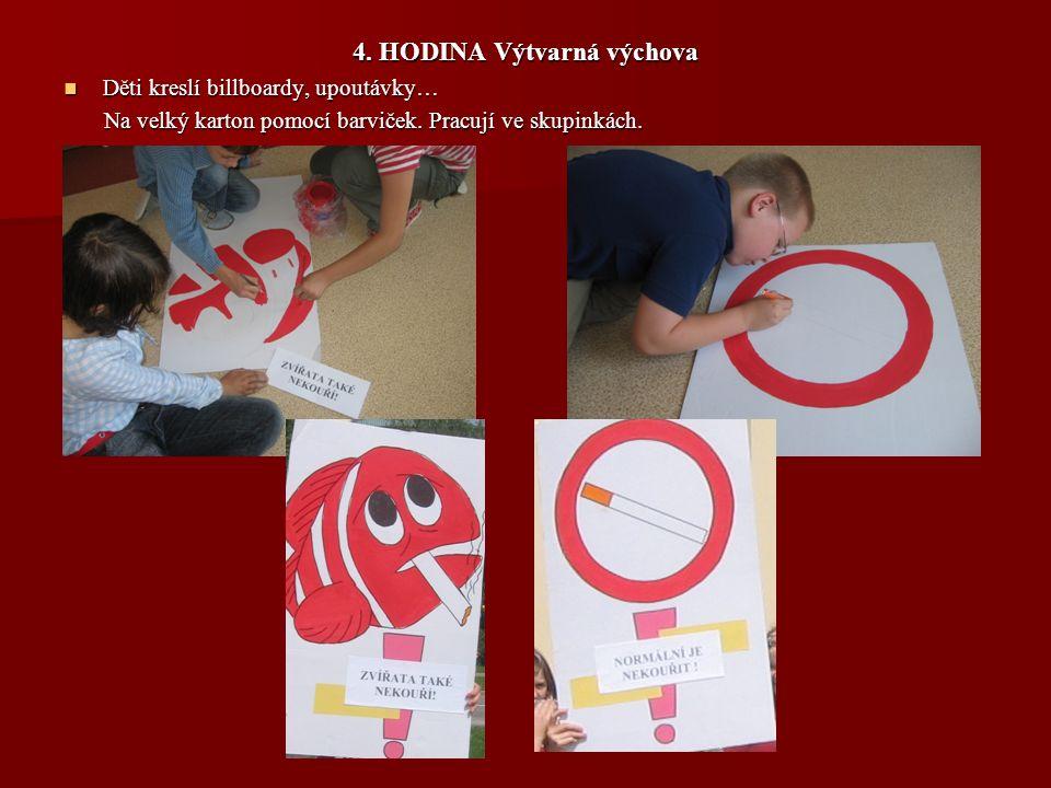 4. HODINA Výtvarná výchova Děti kreslí billboardy, upoutávky… Děti kreslí billboardy, upoutávky… Na velký karton pomocí barviček. Pracují ve skupinkác