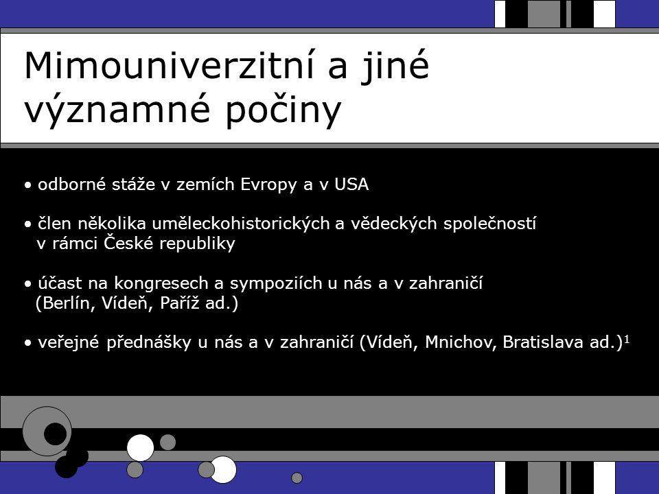 Mimouniverzitní a jiné významné počiny odborné stáže v zemích Evropy a v USA člen několika uměleckohistorických a vědeckých společností v rámci České