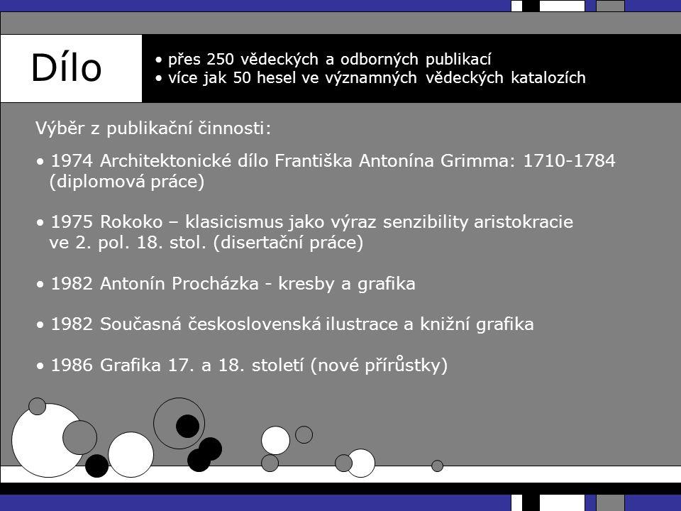 Dílo přes 250 vědeckých a odborných publikací více jak 50 hesel ve významných vědeckých katalozích 1974 Architektonické dílo Františka Antonína Grimma