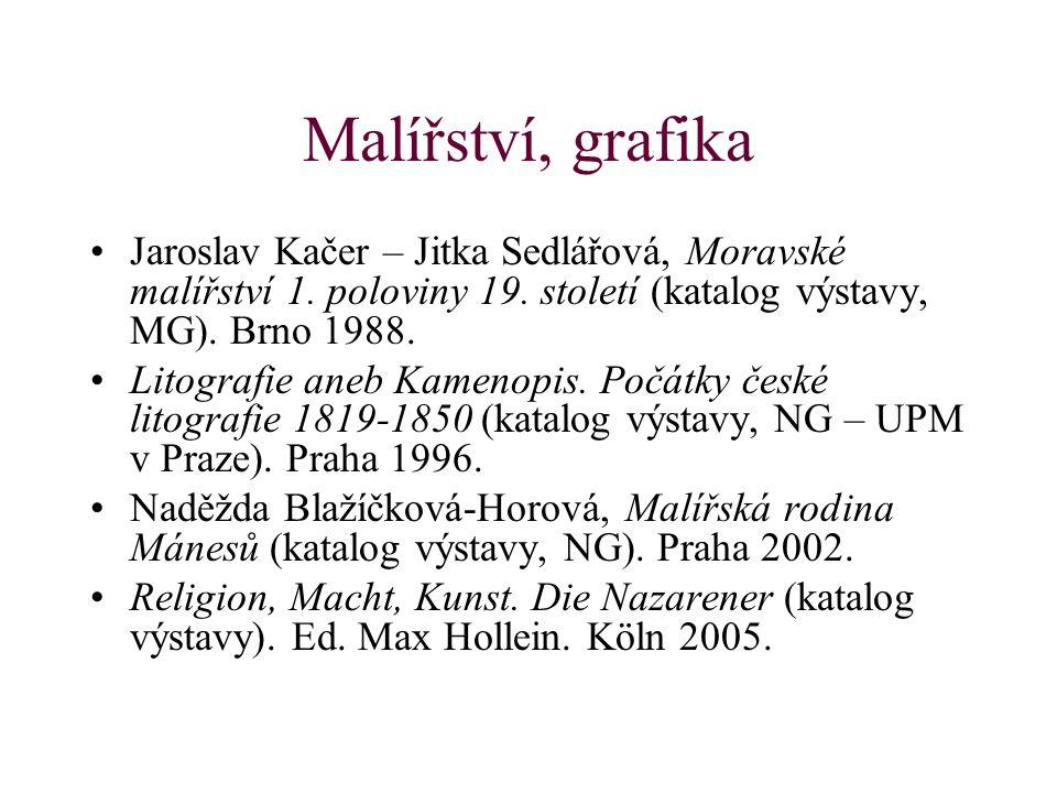 Malířství, grafika Jaroslav Kačer – Jitka Sedlářová, Moravské malířství 1. poloviny 19. století (katalog výstavy, MG). Brno 1988. Litografie aneb Kame