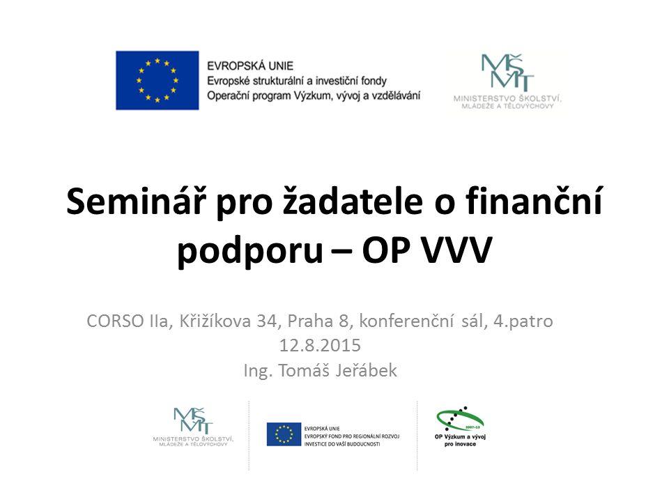 Seminář pro žadatele o finanční podporu – OP VVV CORSO IIa, Křižíkova 34, Praha 8, konferenční sál, 4.patro 12.8.2015 Ing.