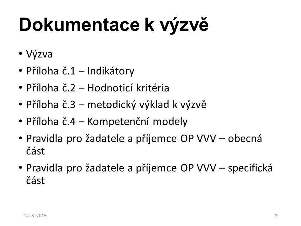 Dokumentace k výzvě Výzva Příloha č.1 – Indikátory Příloha č.2 – Hodnoticí kritéria Příloha č.3 – metodický výklad k výzvě Příloha č.4 – Kompetenční modely Pravidla pro žadatele a příjemce OP VVV – obecná část Pravidla pro žadatele a příjemce OP VVV – specifická část 12.