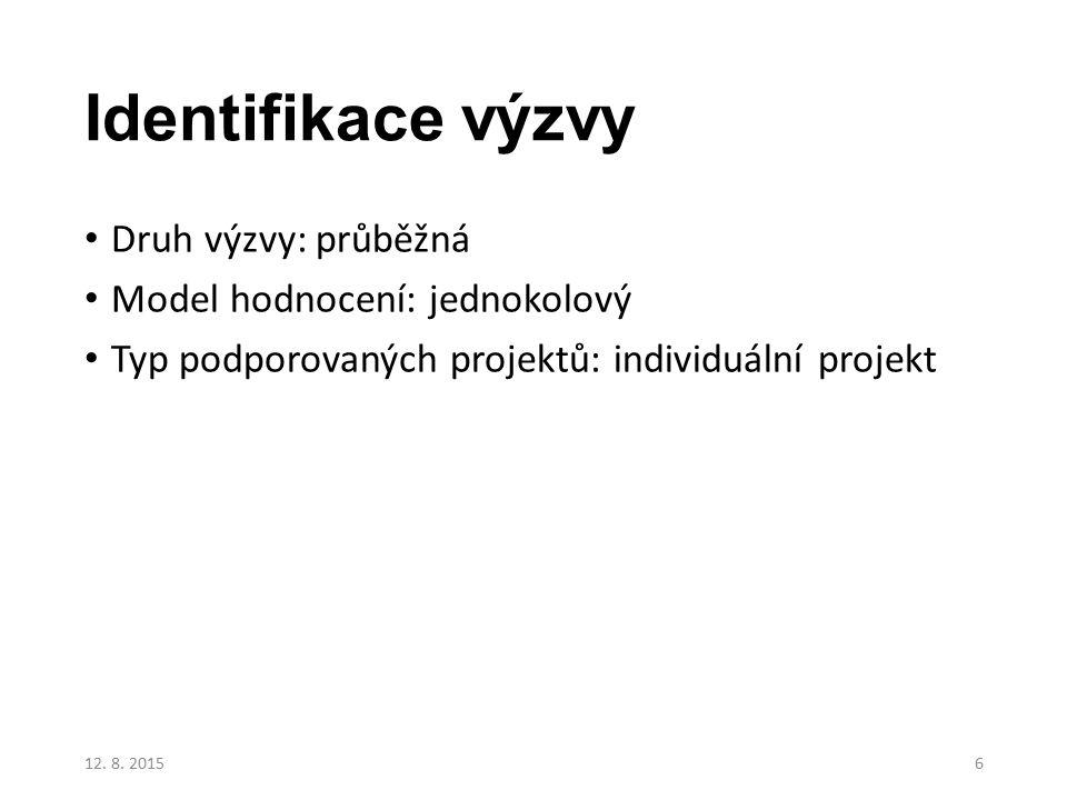 Identifikace výzvy Druh výzvy: průběžná Model hodnocení: jednokolový Typ podporovaných projektů: individuální projekt 12. 8. 20156