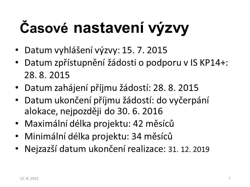 Časové nastavení výzvy Datum vyhlášení výzvy: 15. 7. 2015 Datum zpřístupnění žádosti o podporu v IS KP14+: 28. 8. 2015 Datum zahájení příjmu žádostí:
