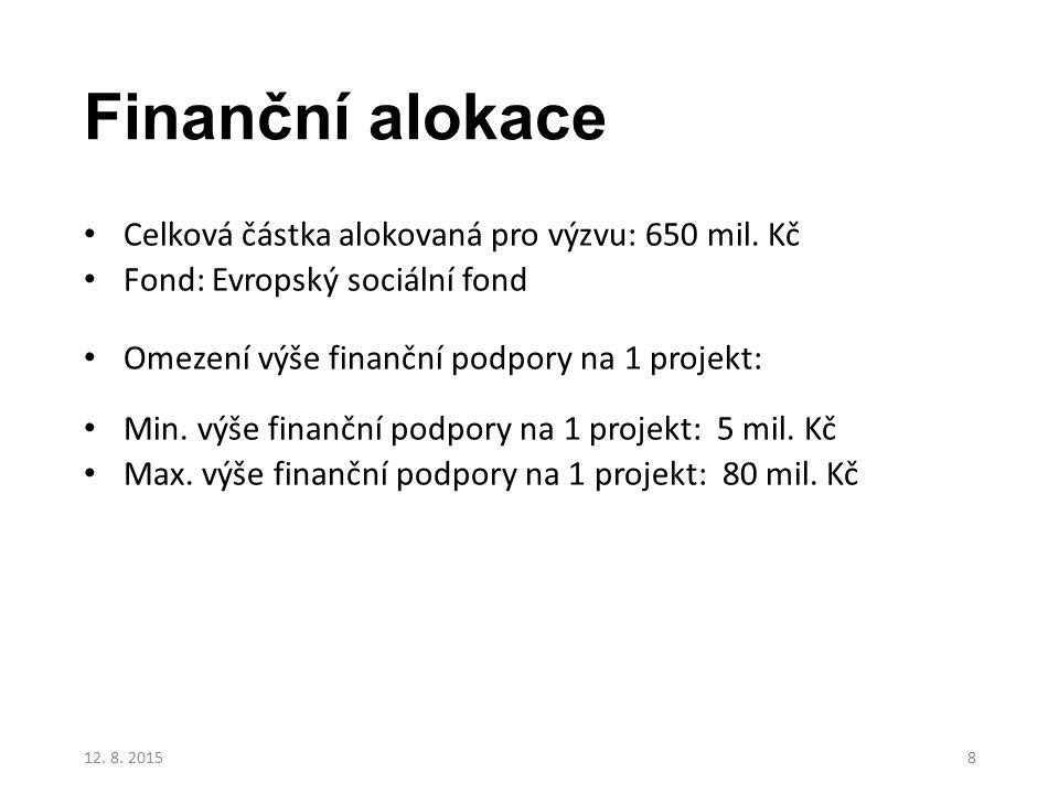Finanční alokace Celková částka alokovaná pro výzvu: 650 mil. Kč Fond: Evropský sociální fond Omezení výše finanční podpory na 1 projekt: Min. výše fi