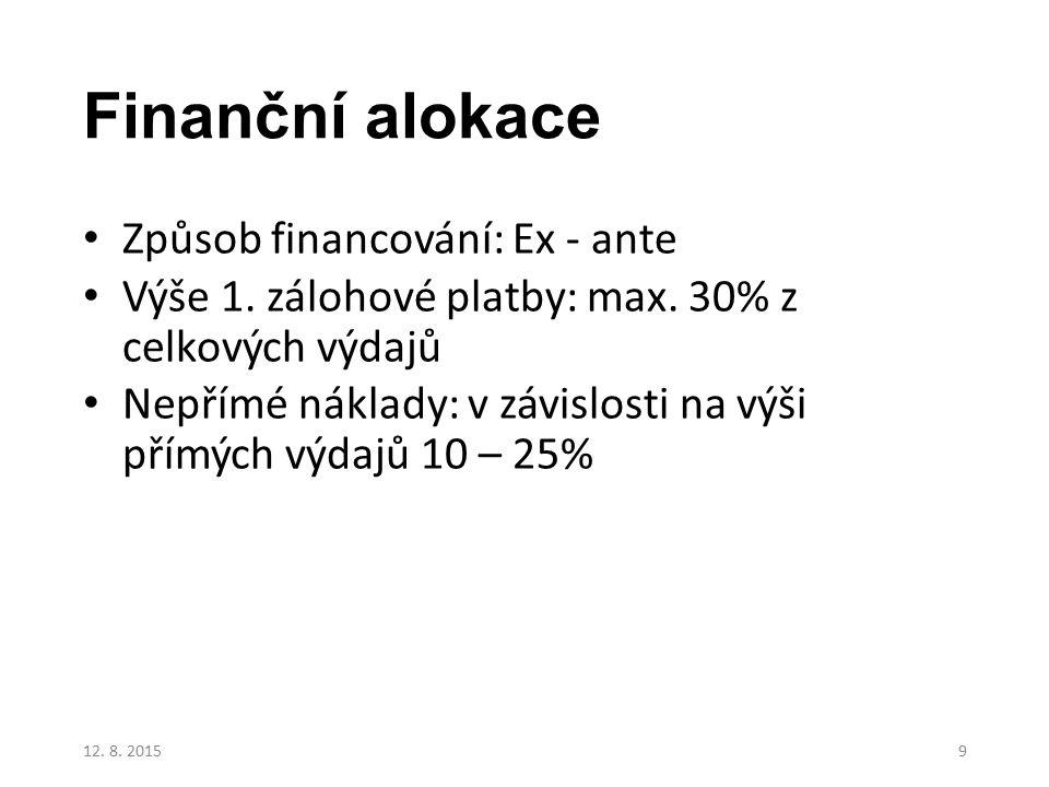 Finanční alokace Způsob financování: Ex - ante Výše 1. zálohové platby: max. 30% z celkových výdajů Nepřímé náklady: v závislosti na výši přímých výda