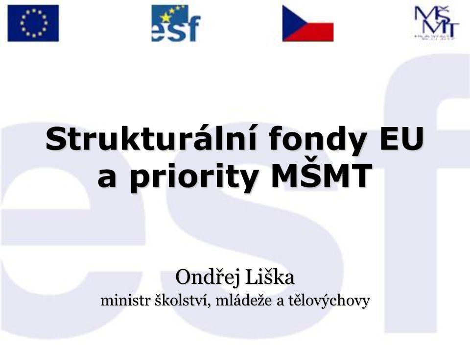 Strukturální fondy EU a priority MŠMT Ondřej Liška ministr školství, mládeže a tělovýchovy