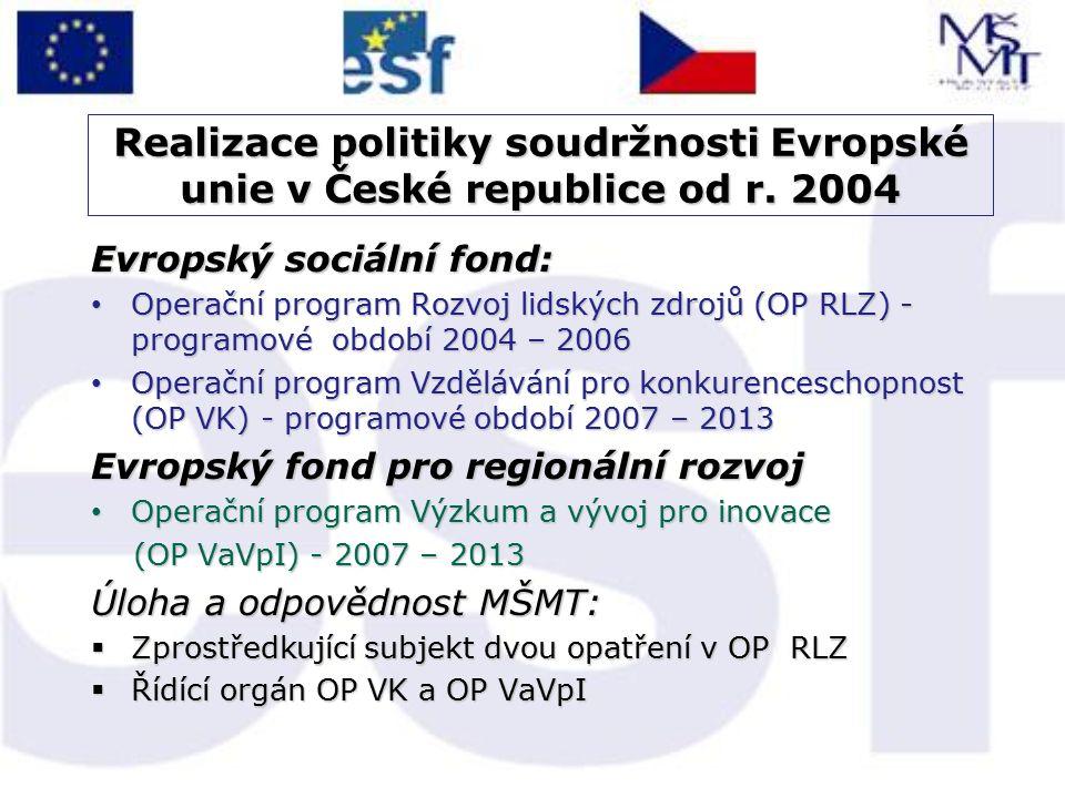 Realizace politiky soudržnosti Evropské unie v České republice od r. 2004 Evropský sociální fond: Operační program Rozvoj lidských zdrojů (OP RLZ) - p
