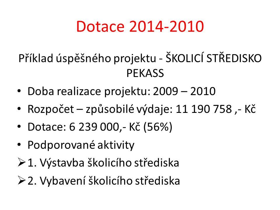 Dotace 2014-2010 Příklad úspěšného projektu - ŠKOLICÍ STŘEDISKO PEKASS Doba realizace projektu: 2009 – 2010 Rozpočet – způsobilé výdaje: 11 190 758,-