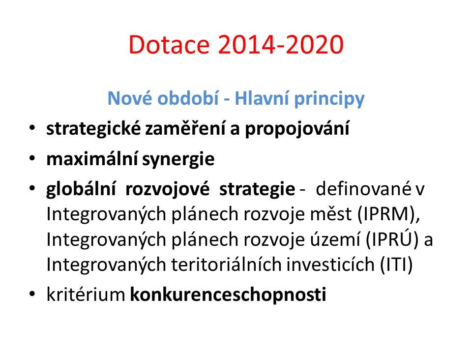 Dotace 2014-2020 Nové období - Hlavní principy strategické zaměření a propojování maximální synergie globální rozvojové strategie - definované v Integ