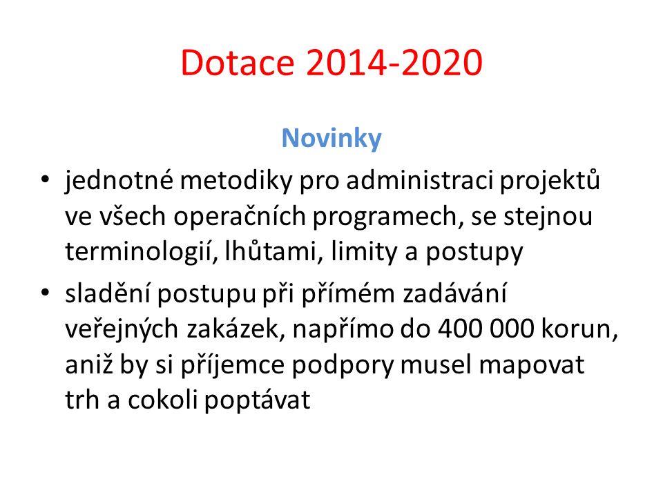 Dotace 2014-2020 Novinky jednotné metodiky pro administraci projektů ve všech operačních programech, se stejnou terminologií, lhůtami, limity a postup
