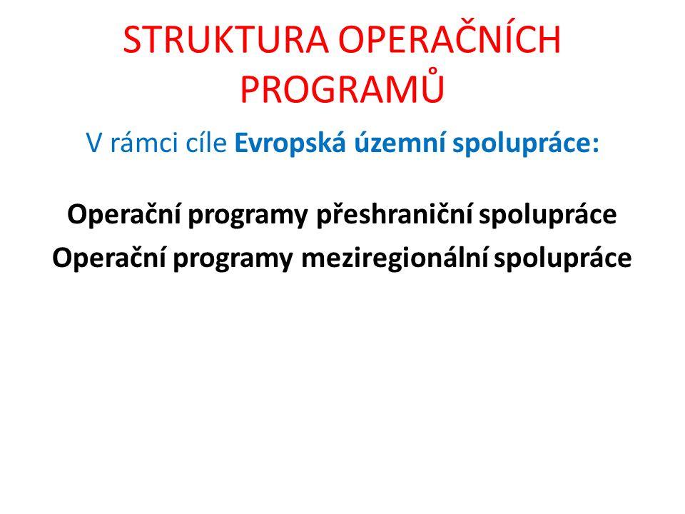 STRUKTURA OPERAČNÍCH PROGRAMŮ V rámci cíle Evropská územní spolupráce: Operační programy přeshraniční spolupráce Operační programy meziregionální spol