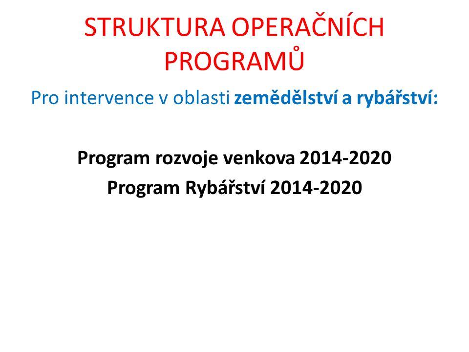 STRUKTURA OPERAČNÍCH PROGRAMŮ Pro intervence v oblasti zemědělství a rybářství: Program rozvoje venkova 2014-2020 Program Rybářství 2014-2020