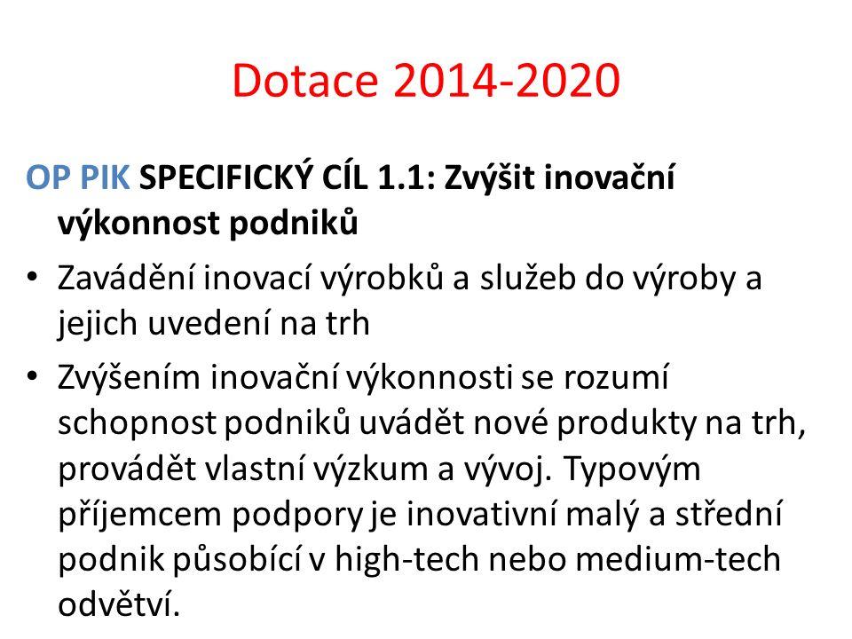 Dotace 2014-2020 OP PIK SPECIFICKÝ CÍL 1.1: Zvýšit inovační výkonnost podniků Zavádění inovací výrobků a služeb do výroby a jejich uvedení na trh Zvýš