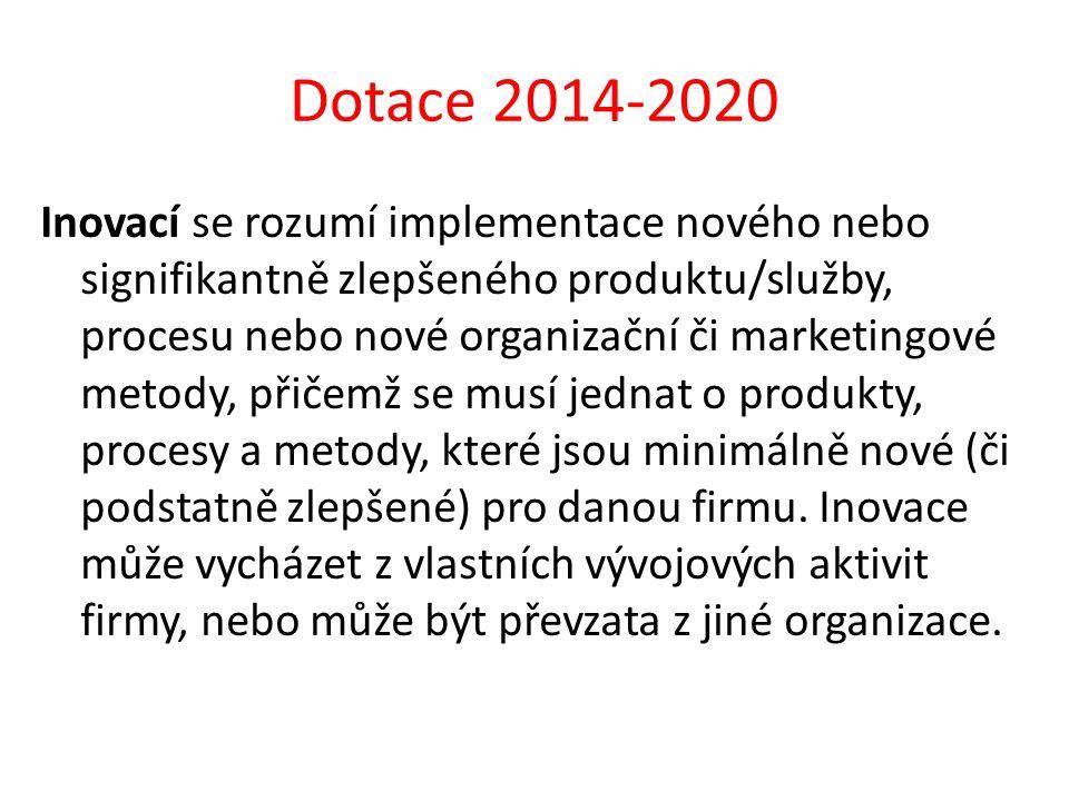 Dotace 2014-2020 Inovací se rozumí implementace nového nebo signifikantně zlepšeného produktu/služby, procesu nebo nové organizační či marketingové me