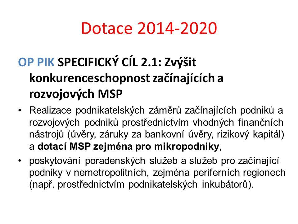 Dotace 2014-2020 OP PIK SPECIFICKÝ CÍL 2.1: Zvýšit konkurenceschopnost začínajících a rozvojových MSP Realizace podnikatelských záměrů začínajících po
