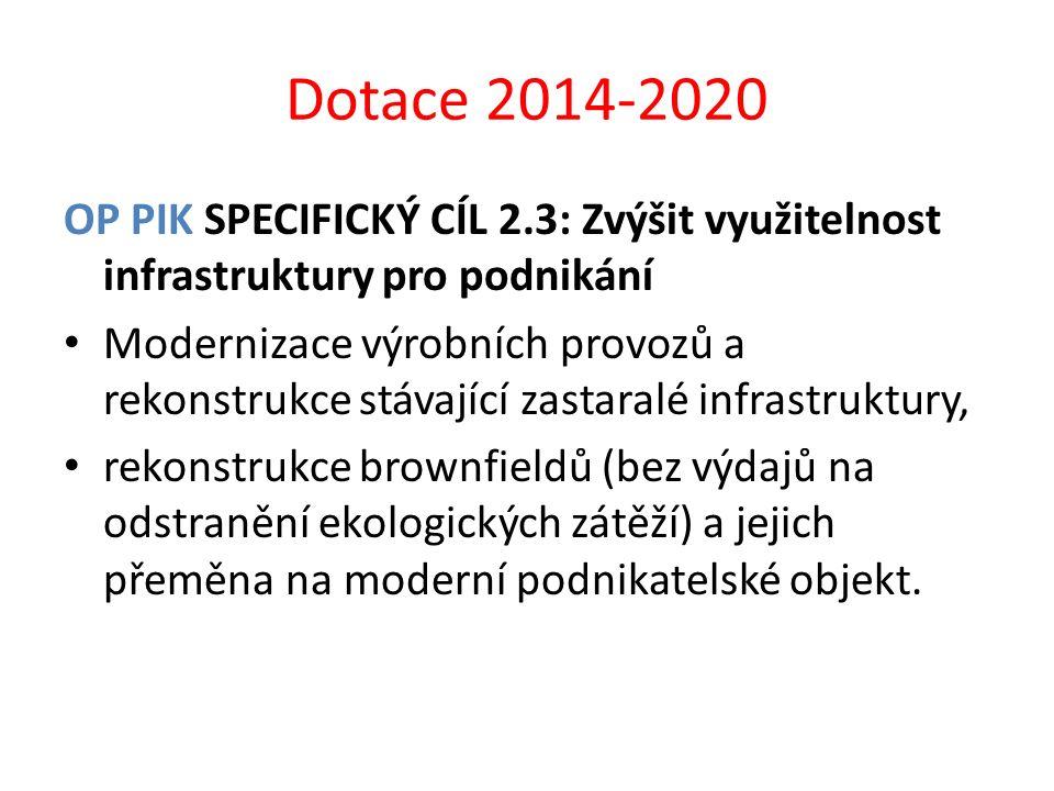 Dotace 2014-2020 OP PIK SPECIFICKÝ CÍL 2.3: Zvýšit využitelnost infrastruktury pro podnikání Modernizace výrobních provozů a rekonstrukce stávající za
