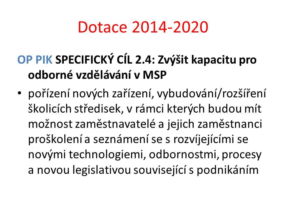 Dotace 2014-2020 OP PIK SPECIFICKÝ CÍL 2.4: Zvýšit kapacitu pro odborné vzdělávání v MSP pořízení nových zařízení, vybudování/rozšíření školicích stře