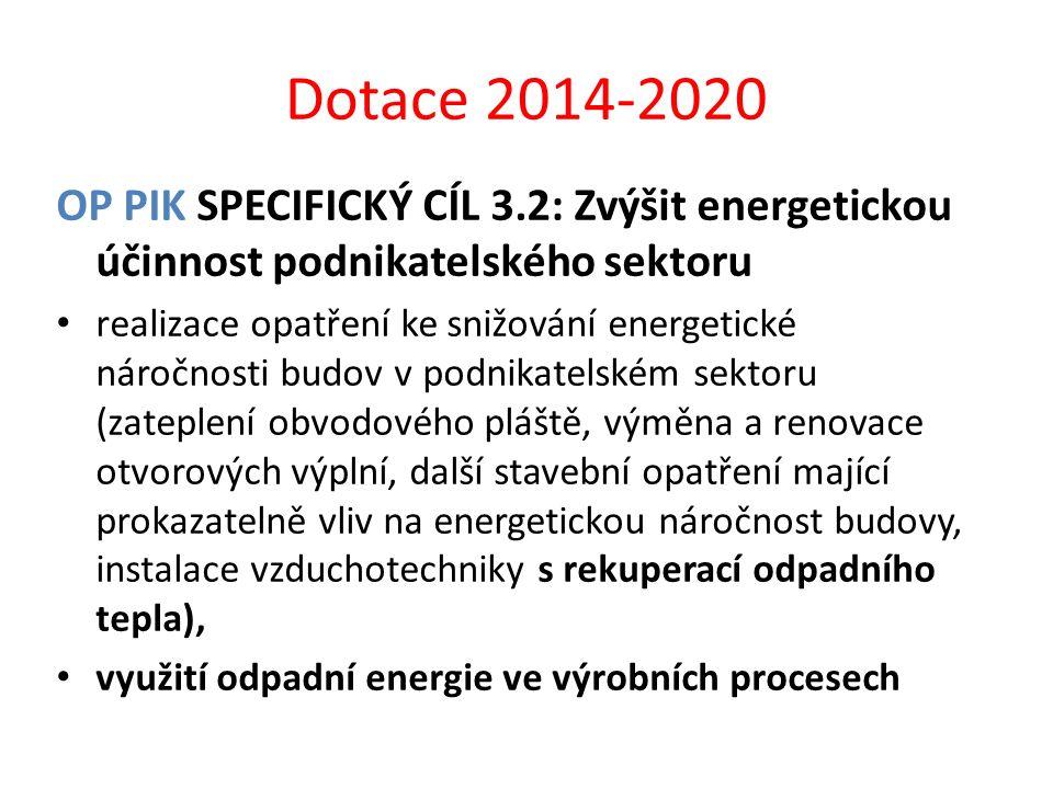 Dotace 2014-2020 OP PIK SPECIFICKÝ CÍL 3.2: Zvýšit energetickou účinnost podnikatelského sektoru realizace opatření ke snižování energetické náročnost