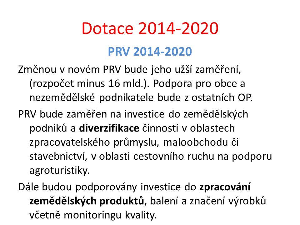 Dotace 2014-2020 PRV 2014-2020 Změnou v novém PRV bude jeho užší zaměření, (rozpočet minus 16 mld.). Podpora pro obce a nezemědělské podnikatele bude