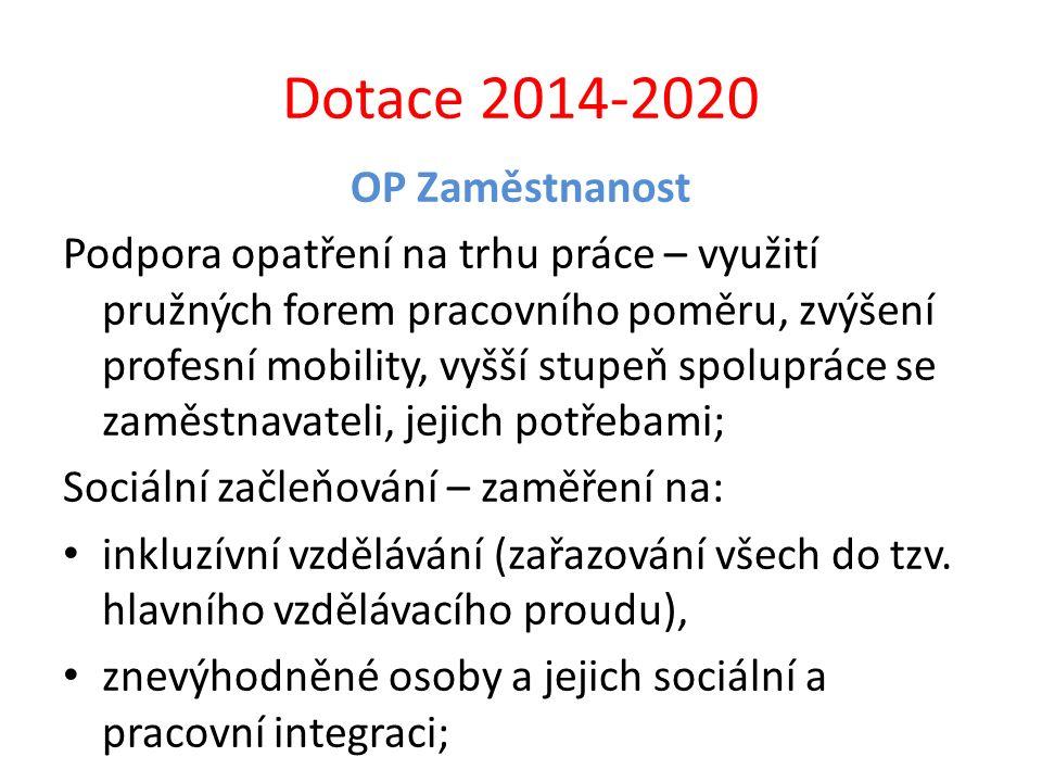 Dotace 2014-2020 OP Zaměstnanost Podpora opatření na trhu práce – využití pružných forem pracovního poměru, zvýšení profesní mobility, vyšší stupeň sp