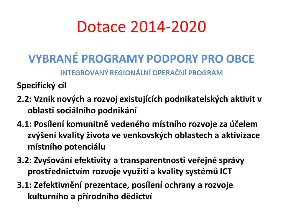 Dotace 2014-2020 VYBRANÉ PROGRAMY PODPORY PRO OBCE INTEGROVANÝ REGIONÁLNÍ OPERAČNÍ PROGRAM Specifický cíl 2.2: Vznik nových a rozvoj existujících podn