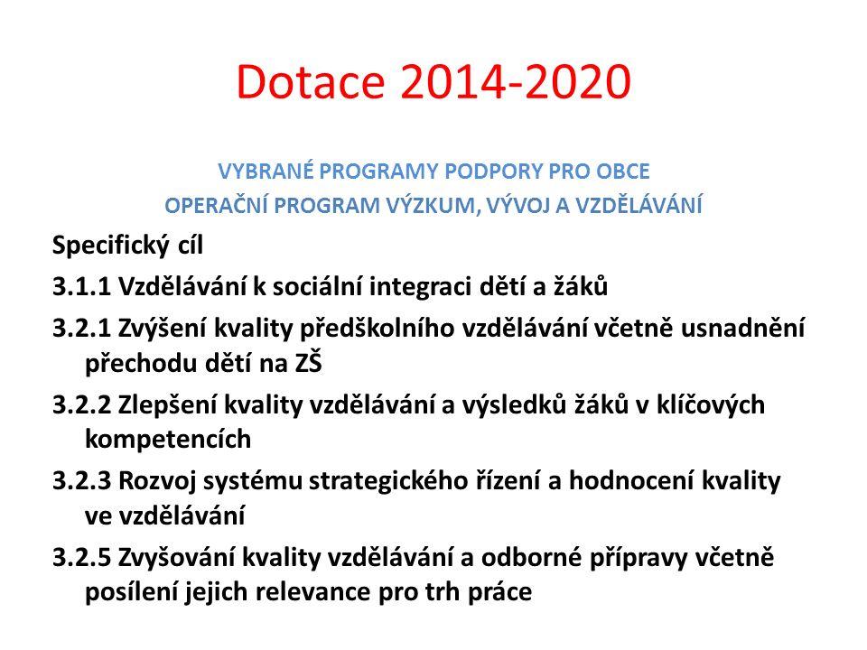 Dotace 2014-2020 VYBRANÉ PROGRAMY PODPORY PRO OBCE OPERAČNÍ PROGRAM VÝZKUM, VÝVOJ A VZDĚLÁVÁNÍ Specifický cíl 3.1.1 Vzdělávání k sociální integraci dě
