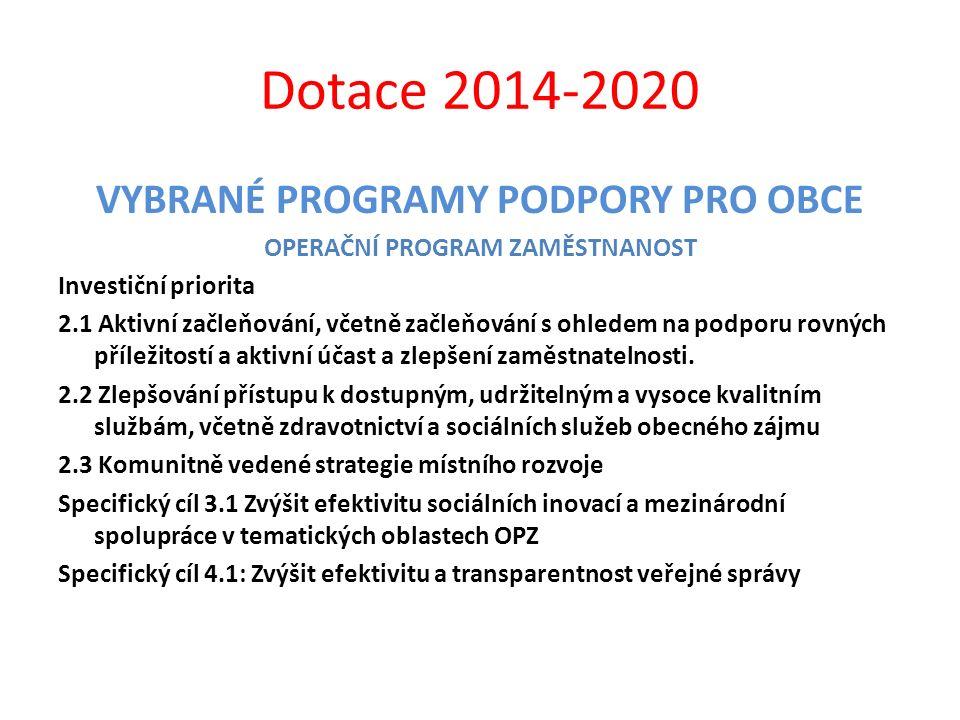 Dotace 2014-2020 VYBRANÉ PROGRAMY PODPORY PRO OBCE OPERAČNÍ PROGRAM ZAMĚSTNANOST Investiční priorita 2.1 Aktivní začleňování, včetně začleňování s ohl