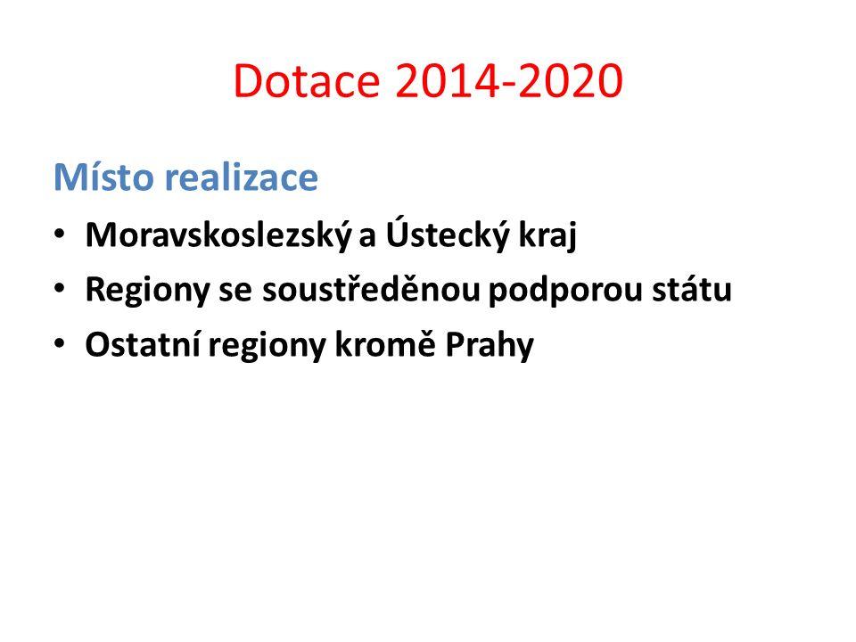 Dotace 2014-2020 Místo realizace Moravskoslezský a Ústecký kraj Regiony se soustředěnou podporou státu Ostatní regiony kromě Prahy