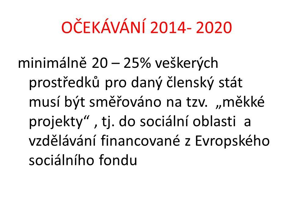 """OČEKÁVÁNÍ 2014- 2020 minimálně 20 – 25% veškerých prostředků pro daný členský stát musí být směřováno na tzv. """"měkké projekty"""", tj. do sociální oblast"""