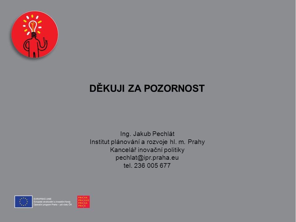 DĚKUJI ZA POZORNOST Ing. Jakub Pechlát Institut plánování a rozvoje hl. m. Prahy Kancelář inovační politiky pechlat@ipr.praha.eu tel. 236 005 677