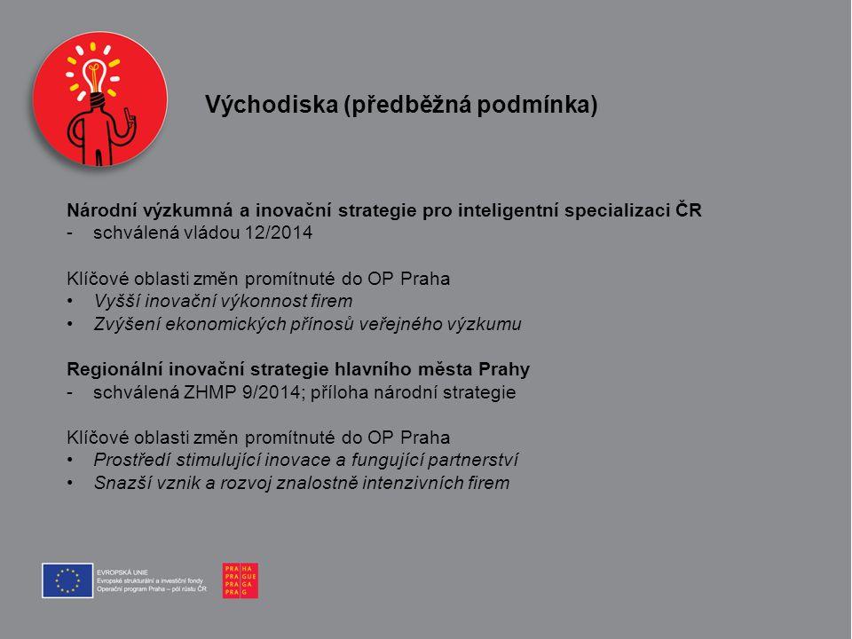 Východiska (předběžná podmínka) Národní výzkumná a inovační strategie pro inteligentní specializaci ČR -schválená vládou 12/2014 Klíčové oblasti změn