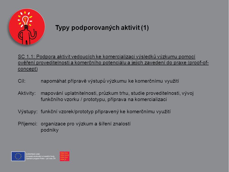 Typy podporovaných aktivit (1) SC 1.1: Podpora aktivit vedoucích ke komercializaci výsledků výzkumu pomocí ověření proveditelnosti a komerčního potenc