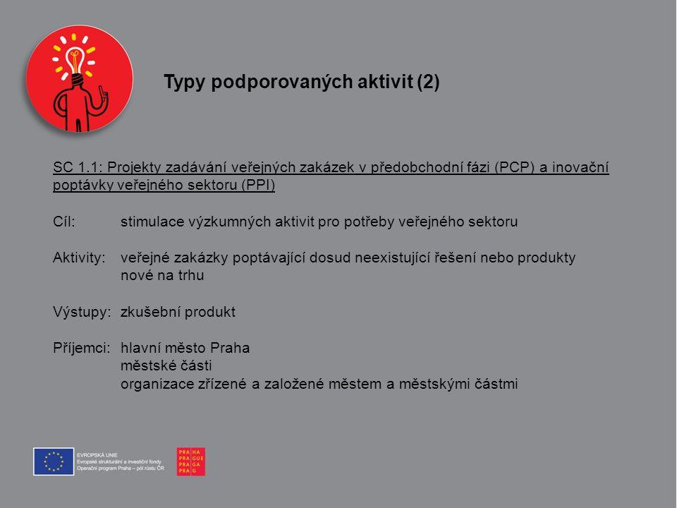 SC 1.1: Projekty zadávání veřejných zakázek v předobchodní fázi (PCP) a inovační poptávky veřejného sektoru (PPI) Cíl: stimulace výzkumných aktivit pr