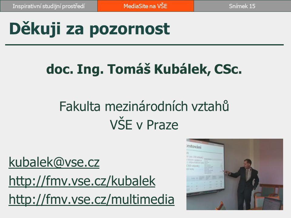 Děkuji za pozornost doc. Ing. Tomáš Kubálek, CSc. Fakulta mezinárodních vztahů VŠE v Praze kubalek@vse.cz http://fmv.vse.cz/kubalek http://fmv.vse.cz/