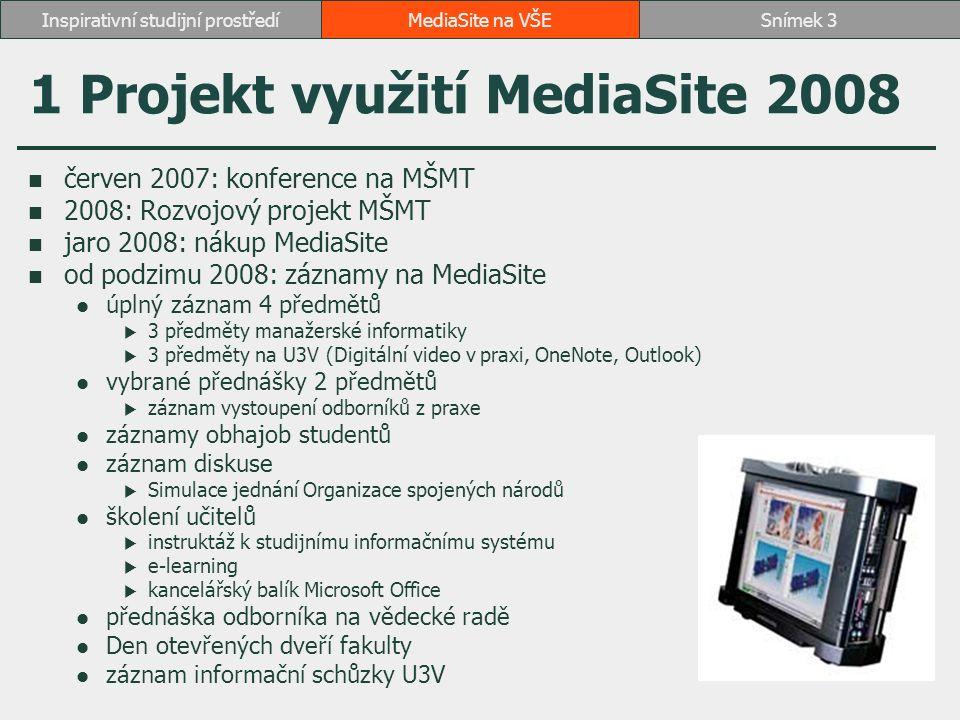 2 Projekt využití MediaSite 2010 snaha o kombinovanou a distanční formu studia iniciativa ostatních fakult využít zkušenosti FMV rozvojový projekt na rok 2010 1 rackový rekordér (RB 101) 3 mobilní rekordéry (RB, SB, JM) 45 předmětů, 34 přepočtených předmětů 1186 hodin záznamu spolupráce s MZLU na začlenění do studijního systému ISIS (především přístupová práva) porada s učiteli před podáním návrhu projektu MediaSite na VŠESnímek 4Inspirativní studijní prostředí