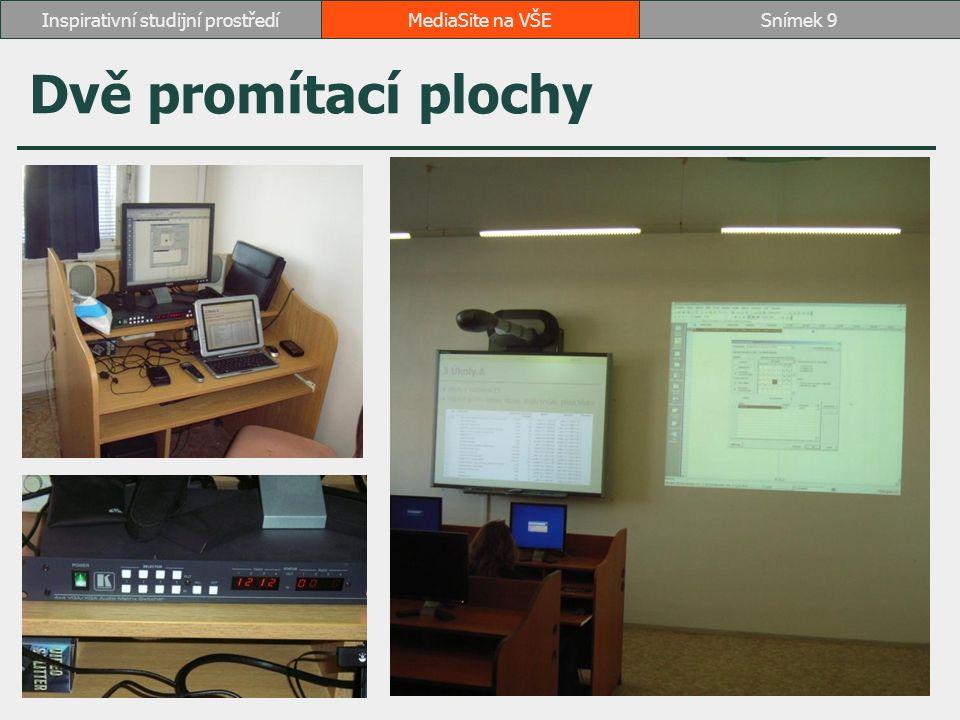 Praktické zkušenosti se záznamy instalace na nevybavené učebně ve dvou lze instalovat o přestávce v rozsahu 15 minut přínos točivých kamer Sony EVI D70P zkrácení instalace dálkové ovládání kamery asistenti záznamu analogový a digitální zdroj záznamu přívodní a propojovací kabely baterie do mikroportů připojení do počítačové sítě on-line záznam MediaSite na VŠESnímek 10Inspirativní studijní prostředí