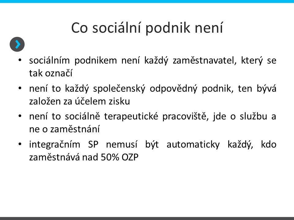 Co sociální podnik není sociálním podnikem není každý zaměstnavatel, který se tak označí není to každý společenský odpovědný podnik, ten bývá založen