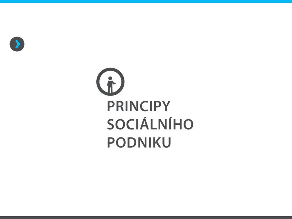 Principy sociálního podniku Společensky prospěšný cíl společensky prospěšný cíl = zaměstnávání a sociálního začleňování osob znevýhodněných na trhu práce formulován v zakládacích dokumentech naplňován prostřednictvím konkrétních aktivit