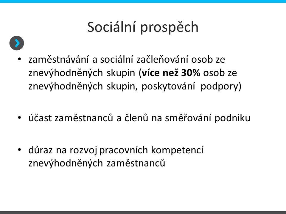 Ekonomický prospěch případný zisk používán přednostně pro rozvoj sociálního podniku a/nebo pro naplnění společensky prospěšných cílů (více než 50% zisku je reinvestováno) nezávislost (autonomie) v manažerském rozhodování a řízení na externích zakladatelích nebo zřizovatelích alespoň minimální podíl tržeb z prodeje výrobků a služeb na celkových výnosech – min.