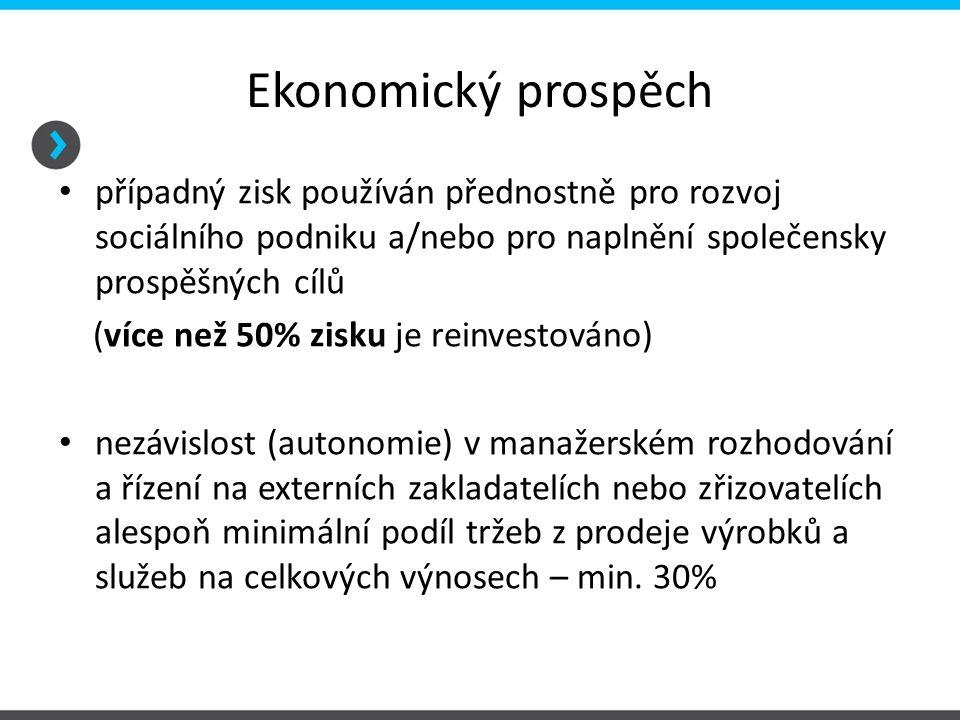 Ekonomický prospěch případný zisk používán přednostně pro rozvoj sociálního podniku a/nebo pro naplnění společensky prospěšných cílů (více než 50% zis