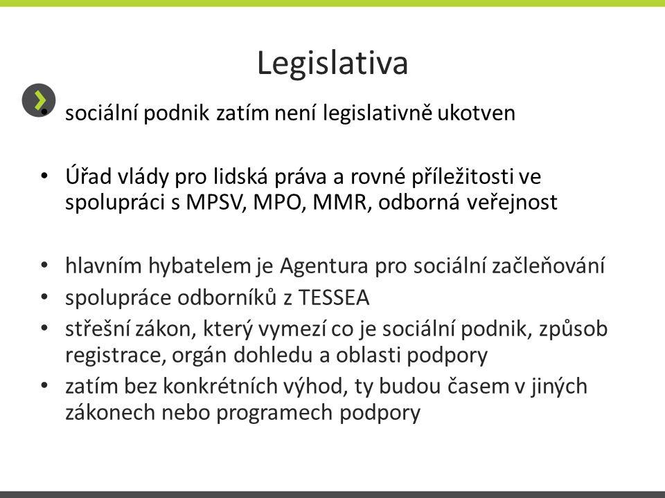 Legislativa sociální podnik zatím není legislativně ukotven Úřad vlády pro lidská práva a rovné příležitosti ve spolupráci s MPSV, MPO, MMR, odborná v