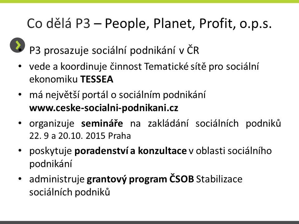 Co dělá P3 – People, Planet, Profit, o.p.s. P3 prosazuje sociální podnikání v ČR vede a koordinuje činnost Tematické sítě pro sociální ekonomiku TESSE