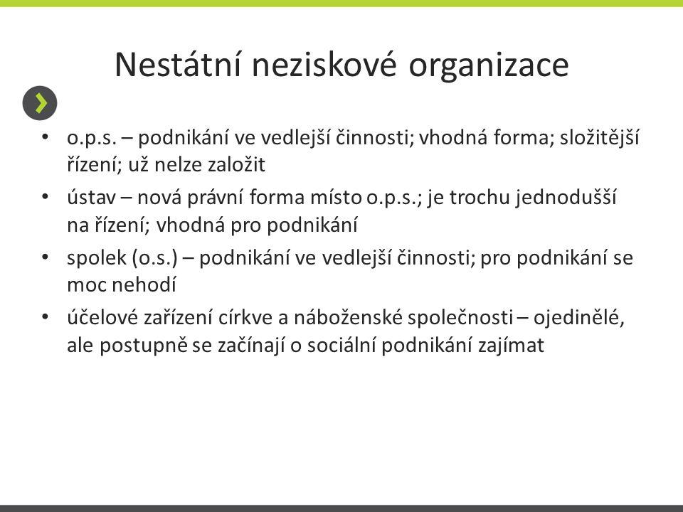 Nestátní neziskové organizace o.p.s. – podnikání ve vedlejší činnosti; vhodná forma; složitější řízení; už nelze založit ústav – nová právní forma mís