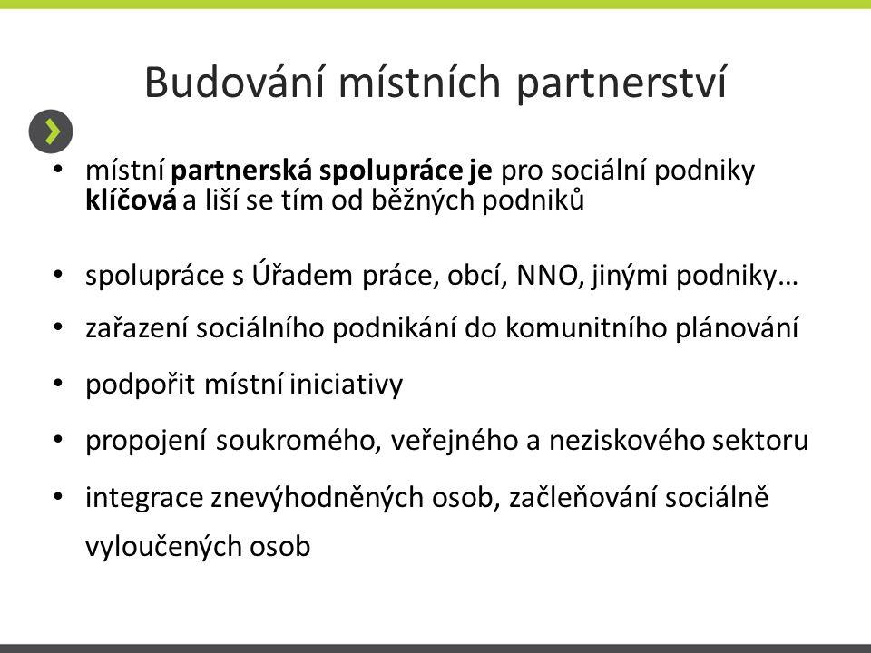 Budování místních partnerství místní partnerská spolupráce je pro sociální podniky klíčová a liší se tím od běžných podniků spolupráce s Úřadem práce,