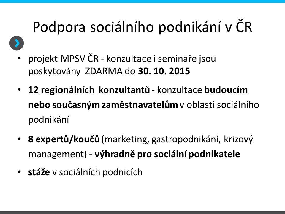 Podpora sociálního podnikání v ČR projekt MPSV ČR - konzultace i semináře jsou poskytovány ZDARMA do 30. 10. 2015 12 regionálních konzultantů - konzul