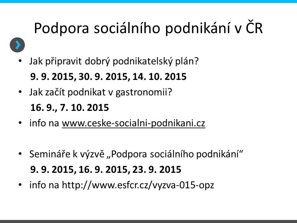 Podpora sociálního podnikání v ČR Jak připravit dobrý podnikatelský plán? 9. 9. 2015, 30. 9. 2015, 14. 10. 2015 Jak začít podnikat v gastronomii? 16.