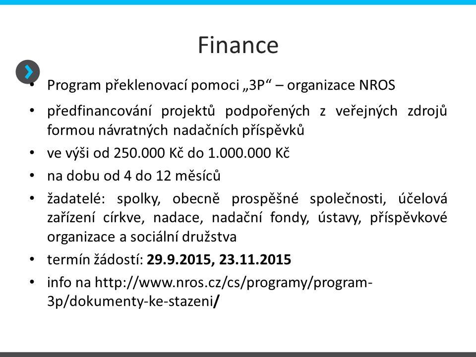 """Finance Program překlenovací pomoci """"3P"""" – organizace NROS předfinancování projektů podpořených z veřejných zdrojů formou návratných nadačních příspěv"""