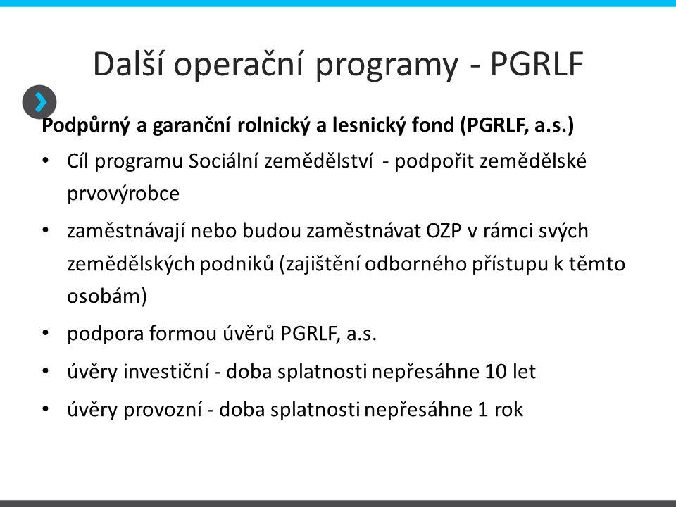 Další operační programy - PGRLF Podpůrný a garanční rolnický a lesnický fond (PGRLF, a.s.) Sociální zemědělství, program Úvěry na nákup půdy, Podpora nákupu půdy – snížení jistiny a Sociální zemědělství - 1.